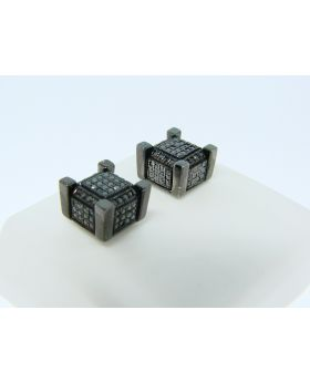 Icy Ice Cube Block All Black Diamond Stud Earrings 8mm