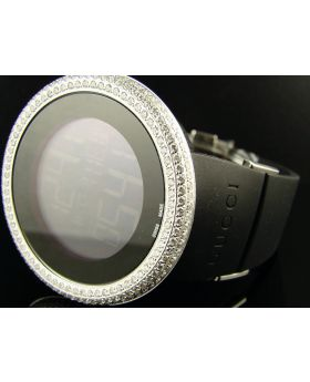 White Diamond Black Gucci Watch 5 Ct
