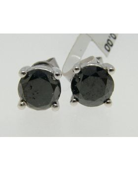 Diamond Solitaire Stud Earrings 3.44 Ct In 14K Gold Black