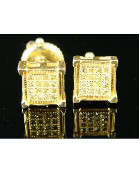Full Canary Diamond Stud Earrings in 10K Yellow Gold Finish