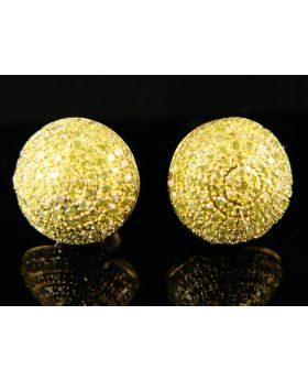 Canary Dome Diamond Stud Earrings 1.0 Ct In 10K Gold