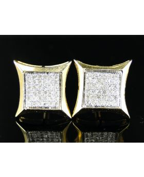Kite 11mm Diamond Stud Earrings .25ct Yellow Gold