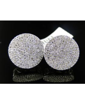 Diamond Stud Round 15mm Earrings In 10K White Gold