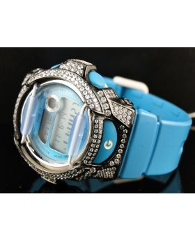G-Shock Baby G Cyan Simulated Diamond Watch