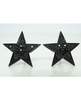 Black Diamond Xl Star Stud Earring 18mm In 10K Gold