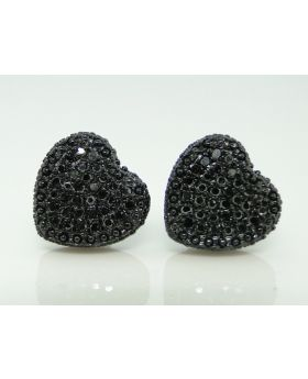 Heart Black On Black Diamond  Stud Earrings  10mm