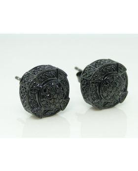 Designer Black  3D Pave Diamond Earrings  (10mm)