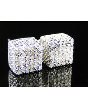 Ice Cube 3D White Diamond Stud Earrings 8mm
