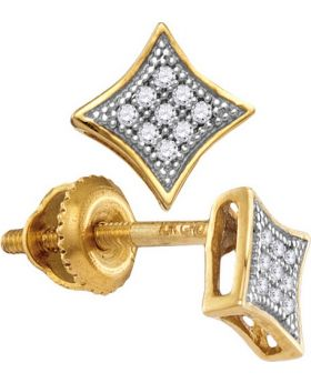 10K Yellow Gold Diamond Micro Pave Square Kite Fashion Stud Earrings 0.05ct
