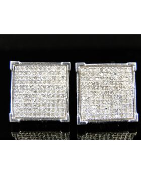 4 Prong Genuine Diamond Pave Stud Earrings 0.75 Ct