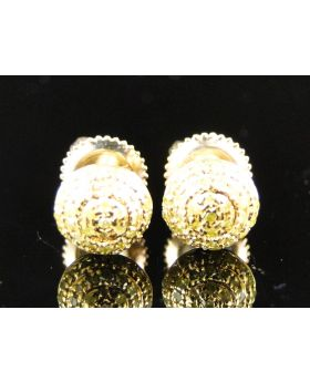 Canary Dome Diamond Stud Earrings 10K Yellow Gold