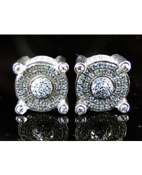 Round White Finish Blue Diamond Prong Studs Earrings