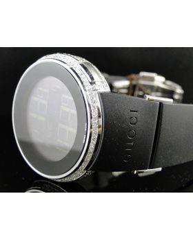 Mens Real Diamond Gucci Digital 2 Timezone Watch 5.5 Ct