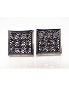 Kite Shaped  Black Diamond 11 mm Stud Earrings