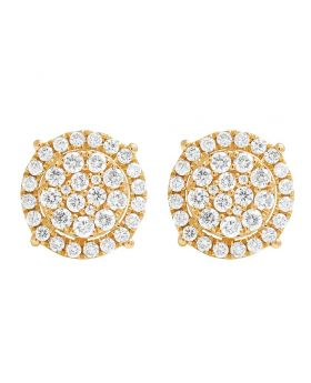 14K Yellow Gold Diamond Round Cluster Studs Earring 1.0ct