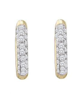 10K Yellow Gold Real Diamond Micro Pave Hoops 0.17ct