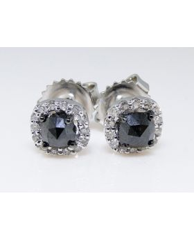 Round Cut Solitaire Halo Black Diamond Stud Earrings