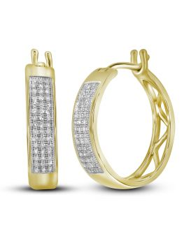 10K Yellow Gold Hoop Earrings with 0.25CT Micro Pave Diamonds