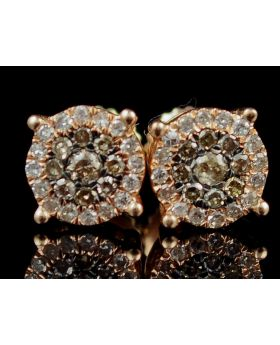 Brown And White Diamond Stud Earrings In 10K Rose Gold