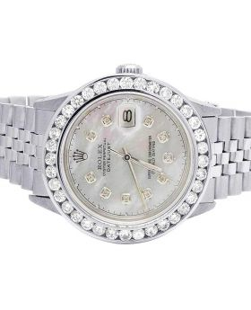 Rolex Datejust 36MM Quickset 16014 White MOP Dial Diamond Watch 5.0 Ct