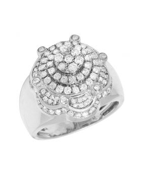 Mens White Gold 3D 3 Tier Flower Cluster Crown Pinky Ring 19MM 2CT