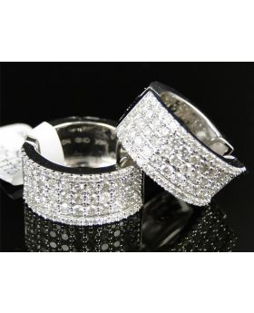 Diamond Pave Set Hoop Huggie Earrings In 10K Gold
