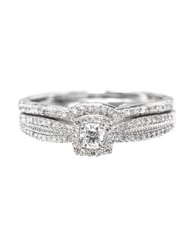 Round Cut Solitaire Diamond Ring Set (0.33ct)