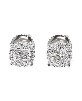 Solitaire Look Earrings in White Gold (0.25 ct)