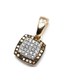 Red Diamond Square Pendant in 10k Rose Gold (0.14 Ct)