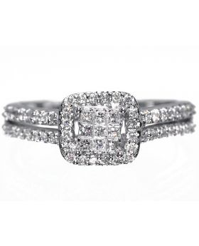 Princess Cut Halo Engagement Ring in White Gold (0.53 ct)