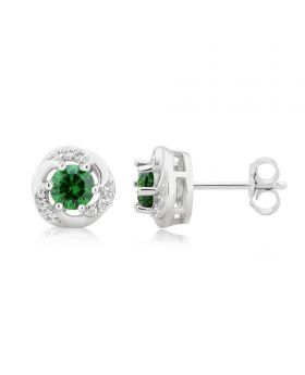 White Gold Finish Created Emerald Solitaire Simulated Diamond Earrings 6MM