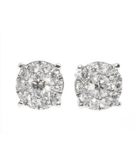 Round Cut Invisible Set Diamond Stud Earrings in 14K White Gold (8mm)