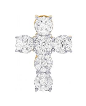 14K Yellow Gold Real Diamond Cluster Pendant Cross 1.5 Ct