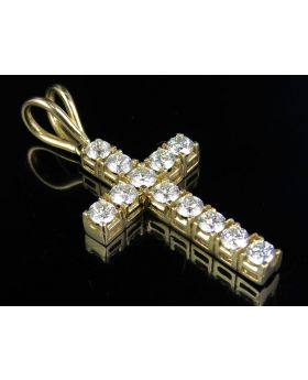 Mini Diamond Cross set in 14K Yellow Gold