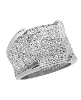 Men's 10K White Gold 3D Iced Real Diamonds Eternity Pinky Ring 1.50ct