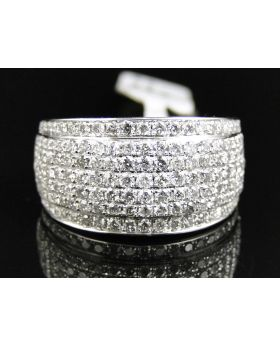 Pave Set 7 row Diamond Ring in 14k White Gold (2.5 Ct)