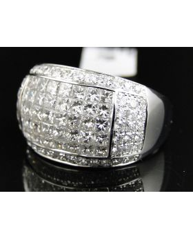 Invisible Set 5 row Diamond Ring in 14k White Gold (5.5 Ct)