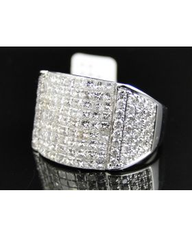Invisible Set 9 row Diamond Ring in 14k White Gold (5.0 Ct)