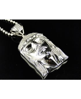 Pave Set Diamond Jesus Pendant in White .925 Silver With Chain (.25 Ct)