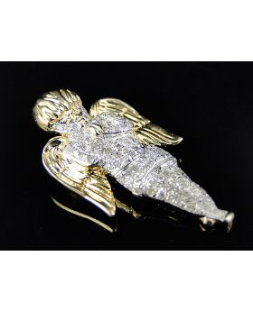Yellow Silver Mini Angel Cherub Diamond Pendant .55 Ct