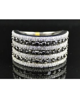 White Gold Black and White Diamond Ring with 2.90 Ct Diamonds