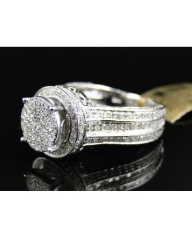 Round Cut Pave Diamond Eternity Style Ring in White Gold (2.0 Ct)