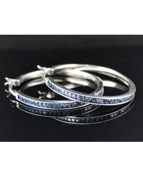 Large Pave Set Diamond Hoop Earrings 1.2 Inch