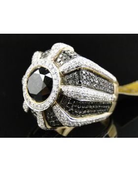 Black and White Diamond Solitaire Ring with 9.05 Ct Diamonds set in 10K Yellow Gold