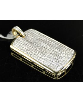 Mini Diamond Dog Tag Pendant set in 10K Yellow Gold (1.50 Ct)