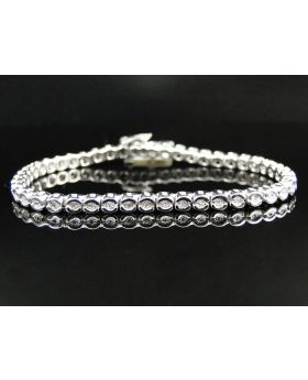 Diamond Bangle Tennis Bracelet in Sterling Silver