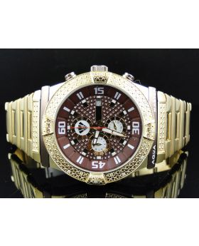 Mens Yellow Gold Aqua Master W#345 Diamond Watch (.25 ct)
