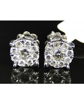 14K White Gold Solitaire Look Diamond Stud Earings 1.50 Ct