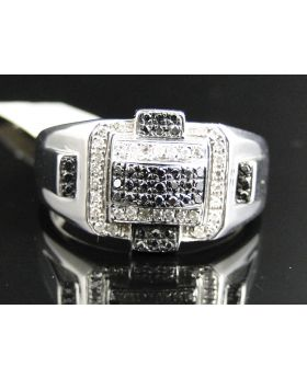 White Gold Finish Black and White Diamond Ring with 0.65 Ct Diamonds