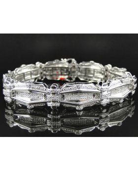 Pave Diamond 8.5 Inch Bracelet Finished in White Gold (1.35 ct)